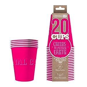 Original Cup - 20 x Vasos Américanos Papels Beer Pong 53cl - Juego para Beber - Rosado