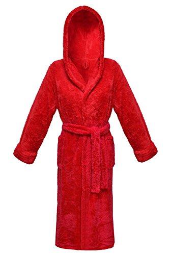 Postero PN102 di lusso con cappuccio in pile lungo accappatoio Rosso