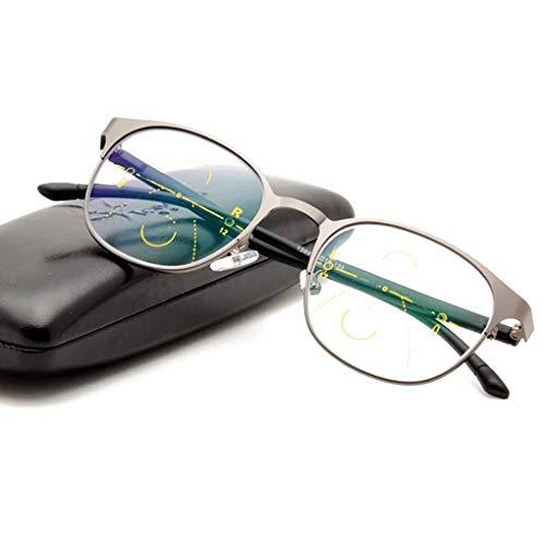 MMZZ Brillen Progressive Multi-Fokus-Lesebrille, Anti-Blaulicht-Photochromic, 3-Level-Vision-Lesegeräte, optische Brille, für Männer und Frauen
