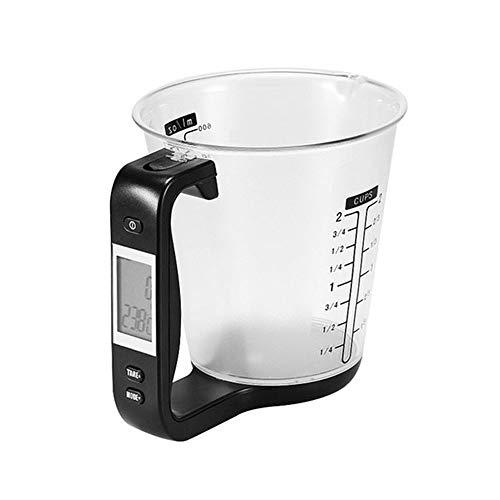 ZSLLO Messbecher Küchenwaage Digitale Becherwaage Elektronische Waage mit LCD-Anzeige Temperaturmessbecher (Farbe : Black)