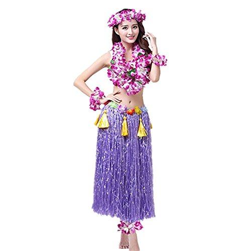 Imagen de hawaiano hula vestido falda hierba guirnaldas de flores accesorios de playa dance costume disfraces purpura