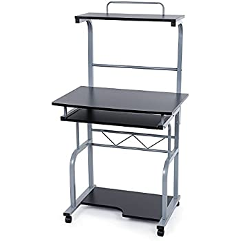 Office Beech And Steel Computer Pc Desk Table Trolley With