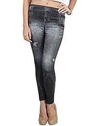 N-Gal Women's Printed Legging (NY2043_Dark Grey_Free Size)