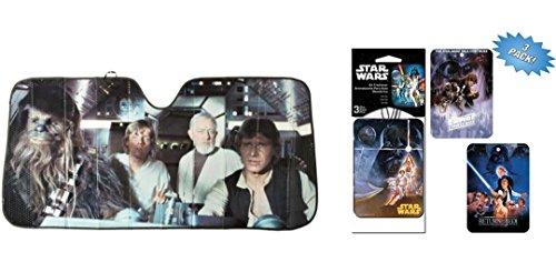 Star Wars Akkordeon Sonnenschutz und 3pk Lufterfrischer Bundle - Sonnenschutz-bundle