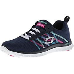 Skechers Flex Appeal Something Fun Navy Multi Womens Trainers Shoes-6