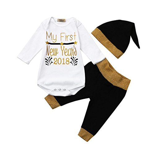 Baby New Year Outfits Set Unisex Infant Baby Romper Tops+Pants Hat Outfits Set