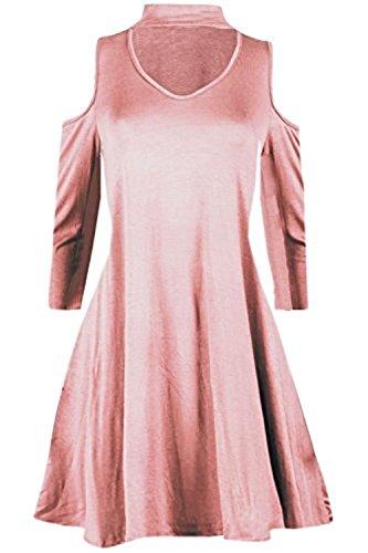 Maillots de bain femme à froid épaule choker V robe Swing EUR Taille 36-54 Nu