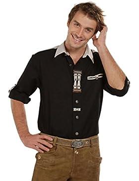 Herren OS-Trachten Krempelarm-Hemd schwarz 'Flori', schwarz,