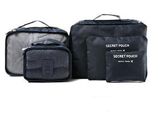 YK Kleidung Aufbewahrungstasche Herren & Damen Travel wasserdichte Tasche Set Casual Gepäck Bag Travel Set Sechs Stück Set Beutel 37*27*12cm grau dunkelblau