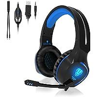 QcoQce Gaming Headset PS4, 3.5mm Xbox One Headset mit Noise Cancelling Mikrofon, LED-Licht, Bass Surround Sound, Kopfhörer für PC MAC Laptop IPad IPod Smartphone (Blau)