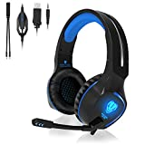 QcoQce Headset PC, Gaming Headset PS4 Xbox One 3.5mm Headset mit Noise Cancelling Mikrofon, LED-Licht, Bass Surround Sound, Kopfhörer für PC MAC Laptop IPad IPod Smartphone (Blau)