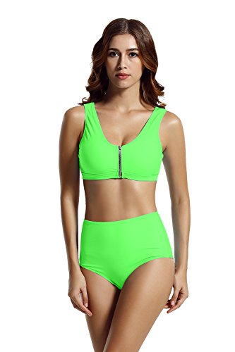 Zeraca Damen Racerback Zipper High Waisted Bikini Swimsuit (L Euro44, Cabana Green) High-waisted Crop
