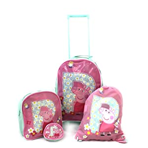 Peppa Pig Luggage Set Wheeled Bag - Trolley Bag Rucksack Purse Trainer Bag - P Is For Peppa by Trademark Collections