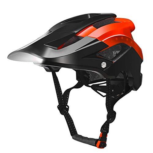 LHY RIDING Fahrradhelm/Abnehmbare Sonnenblende/Sicherheit Front LED-Lichter Mountainbike Reithelm Licht Scheinwerfer Warnlichter Aufladung Nacht Reiten Fahrradhelm Ausrüstung