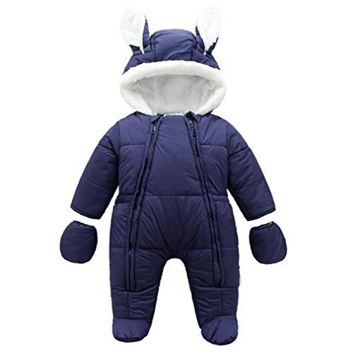 Neonato Bambino Tute da Neve Pagliaccetto con Cappuccio Invernale Bambini Infantile Caldo Jumpsuit Outfits con Guanti e Copertura del Piede/59