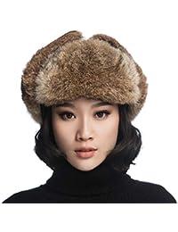 URSFUR cappello colbacco unisex invernale è realizzato con capelli di  coniglio rex e pelle 9193f2767417