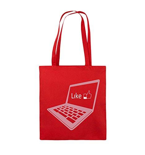 Comedy Bags - I like laptop - Jutebeutel - lange Henkel - 38x42cm - Farbe: Schwarz / Weiss-Neongrün Rot / Rosa-Weiss