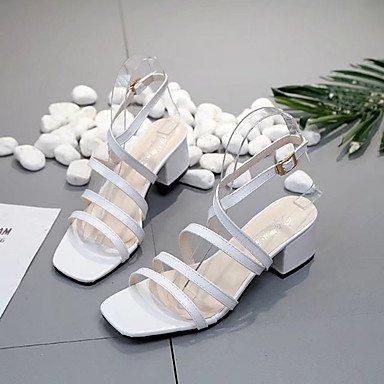 LvYuan Da donna Sandali Comoda Gomma Estate Footing Comoda Fibbia Heel di blocco Bianco Nero Marrone Meno di 2,5 cm Brown