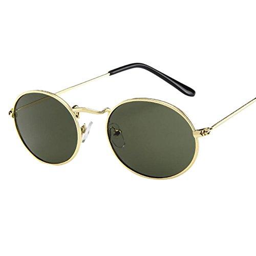 Dragon868 Herren Damen Vintage Retro ovale Sonnenbrille Ellipse Metallrahmen Brille Trendy Shades (E)