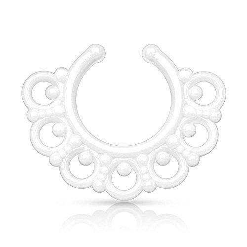 1 x Weiß Neon Tribal Fan Design Acryl Nase Septum Kleiderbügel Clicker Nicht Piercing Länge: 10mm