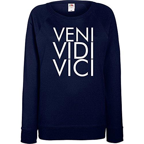 TRVPPY - Sweat Pull, modèle Veni Vedi Veci - Femme, différentes tailles et couleurs Bleu Marine