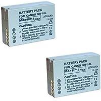 Maxsimafoto - 2x Batteries Piles 1100mAh Compatible NB-10L NB10L pour Canon POWERSHOT SX40 HS, SX50 HS, G1 X, G1X, G15, G16 (Lot double)