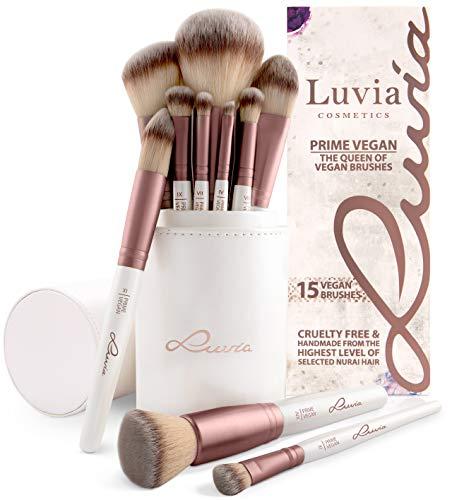 Pinselset Make-Up Von Luvia, Schminkpinsel Inkl. Edlem Pinselhalter & Satin Tasche Für Kosmetikpinsel, Beauty Brush Set Prime Vegan -