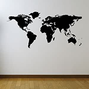 Large Map Of The World Vinyl Wall Sticker Stencil - Medium - Brown