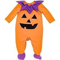 YK&Loving - Bebé Mono de Halloween de Algodón con Escote de Flor Manga Largas Ropa de Forma de Calabaza Cómodo Festival Ropa de Foto para Bebé Carnaval Todos los sAantos