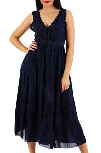 ZARMEXX Damen Maxikleid Sommerkleid Volant langes Empire Kleid Strandkleid (Einheitsgröße: Gr. 38-42, navy) (Kleid Empire Babydoll)
