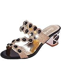 Sandalias De Las Mujeres, Linlink Verano Mujeres Grandes Rhinestone Hueco Cuadrado Hembra Zapatillas Sandalias De