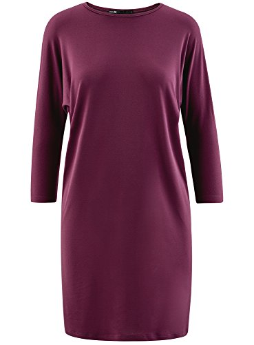 oodji Collection Damen Lässiges Kleid mit Fledermausärmeln Violett (8800N)