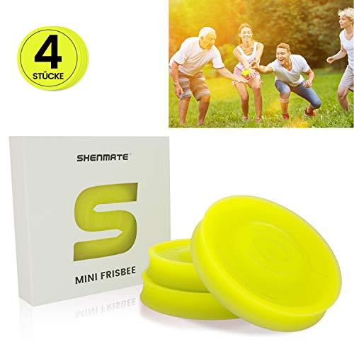 SHENMATE Mini Frisbee Fliegende Scheibe, Neue Spin on The Game of Catch, Outdoor-Sport Spielzeug, Ideal für Kinder & Erwachsene(Gelb)