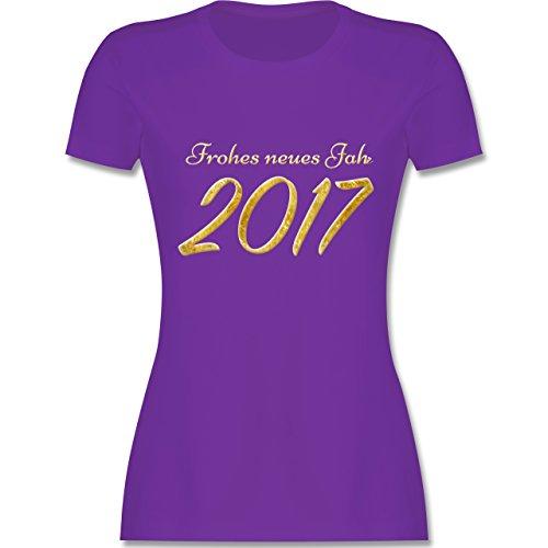 Weihnachten & Silvester - Happy New Year 2017 Gold Silvester - tailliertes Premium T-Shirt mit Rundhalsausschnitt für Damen Lila