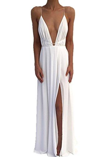 hiffon Spaghetti Strap Tief V Ausschnitt Hoher Schlitz Maxi Kleid Strandkleid Weiß XL ()