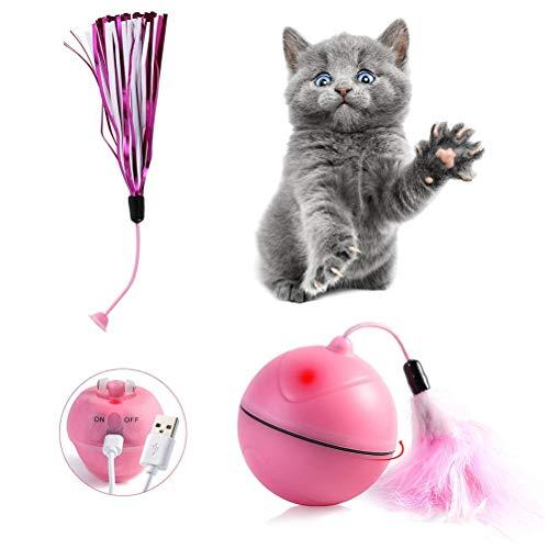 Mallalah Juguete con Forma de Bola LED para Gato, con Juguete extraíble, Recargable y con USB, Recargable y eléctrico para Gatos (Rosa)