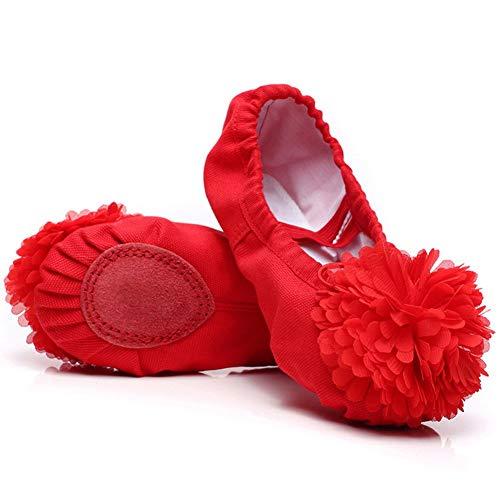 Ice Kostüm Dance - Bobopai Ballet Slippers for Girls Classic Split-Sole Canvas Dance Gymnastics Yoga Shoes (red)