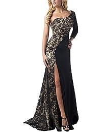 Mujer Vestidos De Noche Fiesta Elegante Largos Fiesta Para Bodas Un Hombro