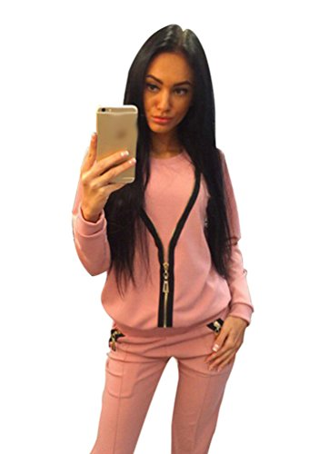 Baymate Automne Casual Survêtement Manches Longues Col Rond Pull Shirt Sweat-shirt + Pantalons pink