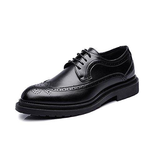 Geschäfts-Brogue-Schuhe der Männer PU-Leder-obere Schnürung Wingtip Dekoration-Breathable Outsole (Color : Schwarz, Größe : 38 EU) Schwarz Wingtip