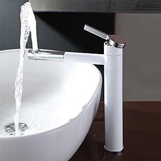 gimili contemporáneo cubierta pantalla plana táctil de Vessel grifo mezclador monomando para fregadero de cocina con caño giratorio Kichen fregadero grifo cromo & blanco baño grifos para lavabo