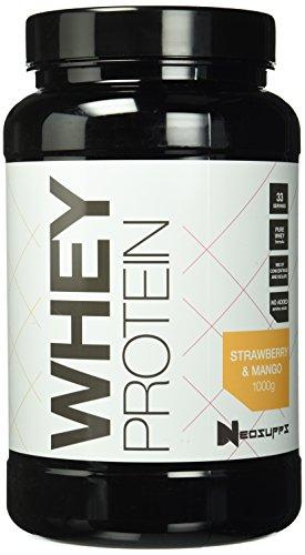 Premium Whey Protein für Muskelaufbau & Abnehmen in leckeren Geschmäckern | Low Carb Eiweiß-Shake, Eiweiß-Pulver mit Aminosäuren (BCAA) | 1kg NeoSupps Protein Pulver – Erdbeere Mango (Hohe Qualität-protein-pulver)
