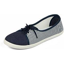 Asian shoes LR-82 Navy Blue White Canvas Women Shoes 5UK/Indian