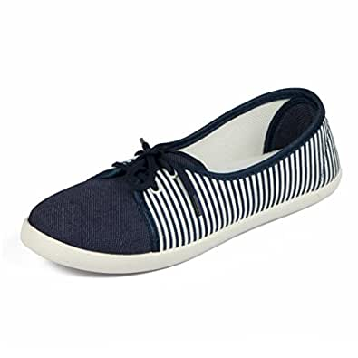 1bb31f64ab944 Asian Shoes Women's Navy Blue White Canvas Casual Shoes - 6Uk/Indian