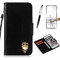Handyhülle für Sony Xperia E5 Hülle MISSDU Leder Flip Case Brieftasche Etui SchutzhülleTasche Cover Rhinestone Eule+Screen Protector + Touch Pen - schwarz