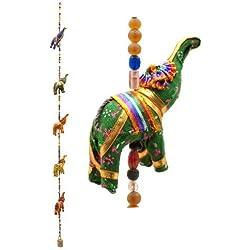 Colgante-móvil de elefantes de la India 90 cm de altura X 5 elefantes de colores