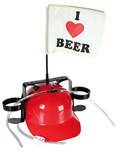 Bada Bing Bierhelm ROT Verkleiden JGA Bauhelm Getränkehalter Bierhalter Karneval 066