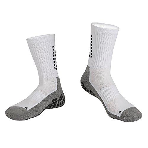 Gogogoal Rutschfeste Socken, Unisex, Baumwolle, weich, dick, atmungsaktiv, elastisch, Sportsocken für Fußballer, Läufer, Radfahrer, Wanderer, Basketballspieler, Yoga, Schwarz und Weiß