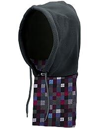 Tbest Invierno Gorra a Prueba de Viento Cuello Calentador Fleece Warm Hat Half Mask Neck Cover Accesorio de Invierno a Prueba de Viento para Senderismo Ciclismo Motociclismo Esquí(Gray Check)