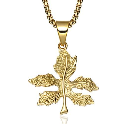 OOFAY Halskette Maple Leaf Carving Edelstahl Hip Hop Titan Stahl Blatt Gold Männlich-Weiblich (Kette + Pendant) Kombination 2 Möglichkeiten Zu Tragen